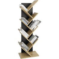 Product photograph showing Bellevue Floor Standing Wooden Bookcase In Artisan Oak And Black