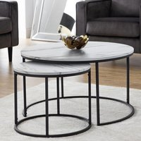 Bellini Round Wooden Nesting Coffee Table In White Marble Effect