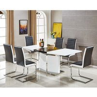 Belmonte Extendable Dining Table Large With 6 Black Chairs