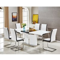 Belmonte Extendable Dining Table Large With 8 White Chairs