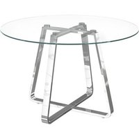 Product photograph showing Belper Round Clear Glass Dining Table With Chrome Frame