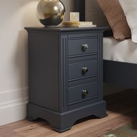 Belton Wooden 3 Drawers Bedside Cabinet In Midnight Grey