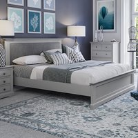 Product photograph showing Belton Wooden King Size Bed In Grey