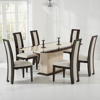 Bentroll Marble Dining Table Cream And Brown With 6 Allie Chairs