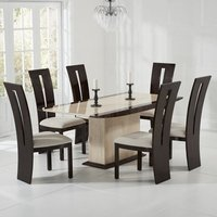 Bentroll Marble Dining Table Cream Brown With 6 Ophelia Chairs