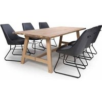 Product photograph showing Bergen Dining Set With 6 Grey Cooper Chairs
