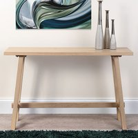 Product photograph showing Bergen Wooden Rectangle Console Table In Light Oak