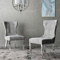 Berit Cloudy Grey Leather Dining Chair In A Pair With Silver
