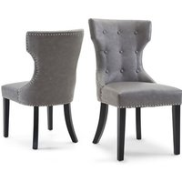 Berit Dining Chair In Cloudy Grey Leather In A Pair
