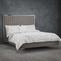 Product photograph showing Berkeley Velvet Upholstered Double Bed In Mink Grey