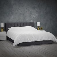Product photograph showing Berlin Velvet Upholstered King Size Bed In Silver