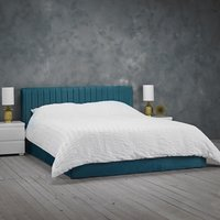 Product photograph showing Berlin Velvet Upholstered Small Double Bed In Teal