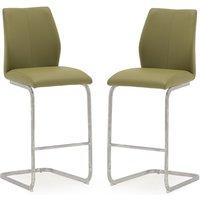 image-Samara Bar Chair In Green Faux Leather And Chrome Legs In A Pair
