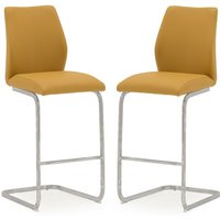 Product photograph showing Samara Bar Chair In Orange Pu And Chrome Legs In A Pair