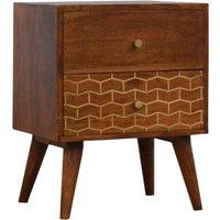 Bethel Gold Art Pattern 2 Drawers Bedside Cabinet In Chestnut