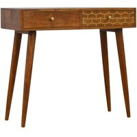 Product photograph showing Bethel Wooden Gold Art Pattern Console Table In Chestnut