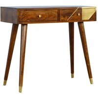 Product photograph showing Bethel Wooden Gold Geometric Console Table In Chestnut