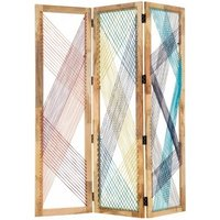 Product photograph showing Bettina 3 Sections Room Divider In Multicoloured