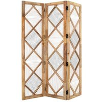 Product photograph showing Bettina Wooden 3 Sections Room Divider In Natural