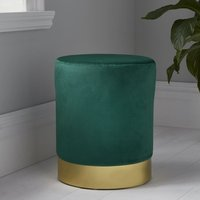 Product photograph showing Beverly Round Velvet Stool In Deep Green And Gold