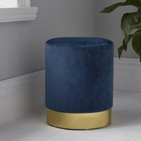Product photograph showing Beverly Round Velvet Stool In Mystique Blue And Gold
