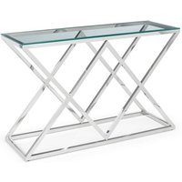 Product photograph showing Binghamton Clear Glass Top Console Table With Chrome Base