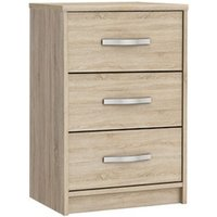 Birlea Wooden Bedside Cabinet In Brushed Oak With 3 Drawers