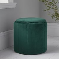 Product photograph showing Bismarck Round Plush Velvet Stool In Deep Green
