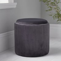 Product photograph showing Bismarck Round Plush Velvet Stool In Grey