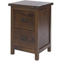 Biston Bedside Cabinet In Dark Tinted Lacquer With Two Drawers