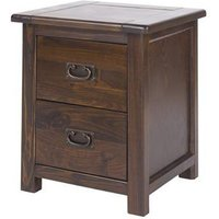 Biston Wide Bedside Cabinet In Dark Tinted Lacquer Finish