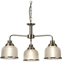 Bistro II 3 Light Pendant In Antique Brass And Halophane