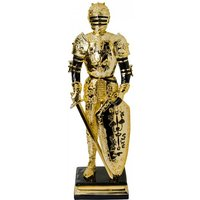 Product photograph showing Knight Statue Sculpture In Black And Gold Finish