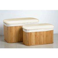 Set Of 2 Natural Bamboo Storage Bench