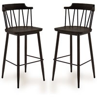Product photograph showing Blake Black Elm Wooden Bar Chair With Steel Legs In Pair
