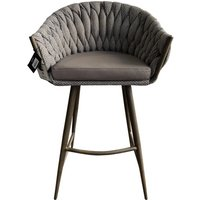 Product photograph showing Blake Fabric Bar Stool With Faux Leather Seat In Brown