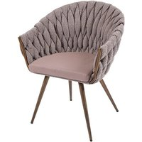 Product photograph showing Blake Fabric Dining Chair With Faux Leather Seat In Taupe
