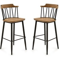 Product photograph showing Blake Natural Elm Wooden Bar Chair With Steel Legs In Pair