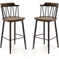 Product photograph showing Blake Rustic Elm Wooden Bar Chair With Steel Legs In Pair