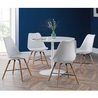 Blanco Round Dining Set In White With 4 Kari White Chairs