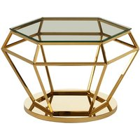 Product photograph showing Algorab Glass Diamond Shape Side Table In Rich Gold Finish