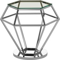 Product photograph showing Bleadon Glass Diamond Shape Small Side Table In Silver Finish