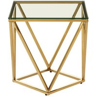 Product photograph showing Bleadon Glass Small Side Table With Gold Twist Base Design