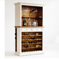 image-Boddem Display Cabinet In White Pine With Wine Rack