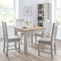 Bohemia Extending Flip-Top Dining Table In Elephant Grey With 4 Chairs