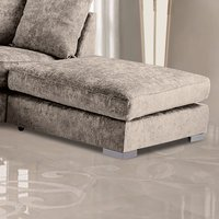Product photograph showing Boise Chenille Fabric Footstool In Champagne