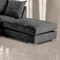 Product photograph showing Boise Chenille Fabric Footstool In Charcoal