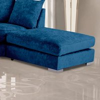 Product photograph showing Boise Chenille Fabric Footstool In Marine Blue