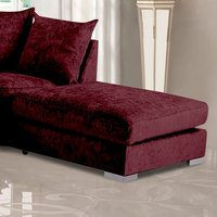 Product photograph showing Boise Chenille Fabric Footstool In Mulberry