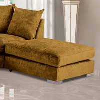 Product photograph showing Boise Chenille Fabric Footstool In Mustard